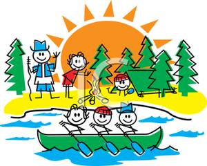 Stick Family Camping In The Woods   Royalty Free Clipart Picture