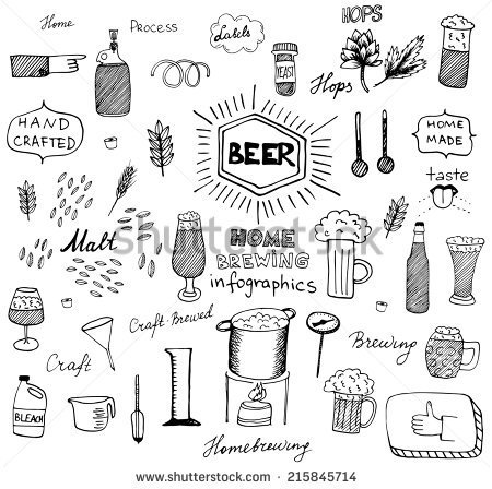 The Set Of Hand Drawn Beer Info Graphics For Your Design  Home Brewing