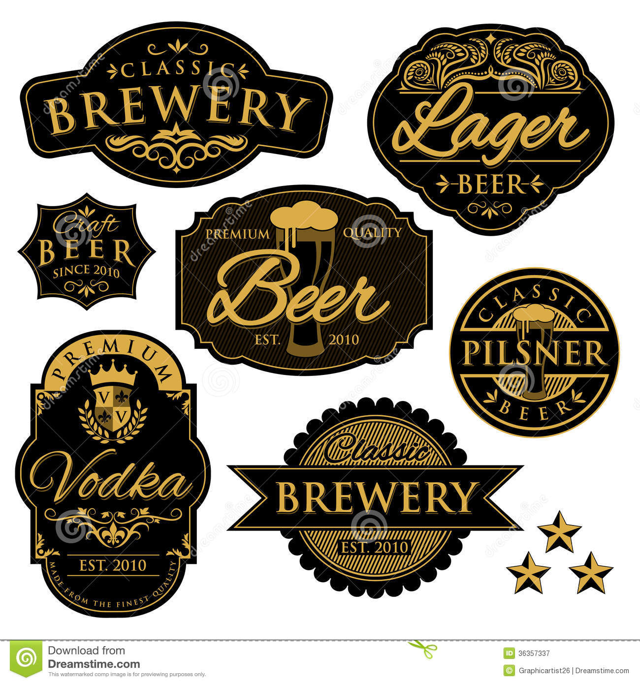 Vintage Brewery Labels Royalty Free Stock Photography   Image