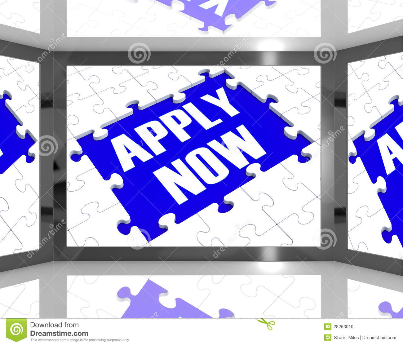 Apply Now On Screen Showing Job Recruitment Stock Photo   Image