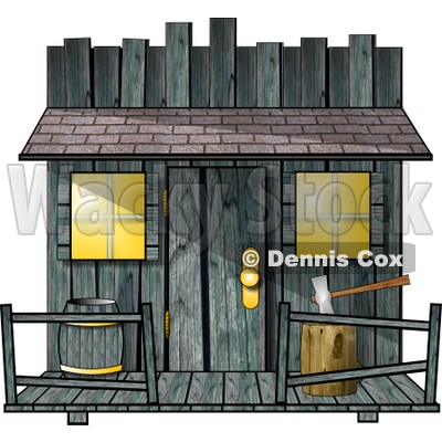 Clipart Of An Old Creepy Wood Shed Or Western Saloon Building