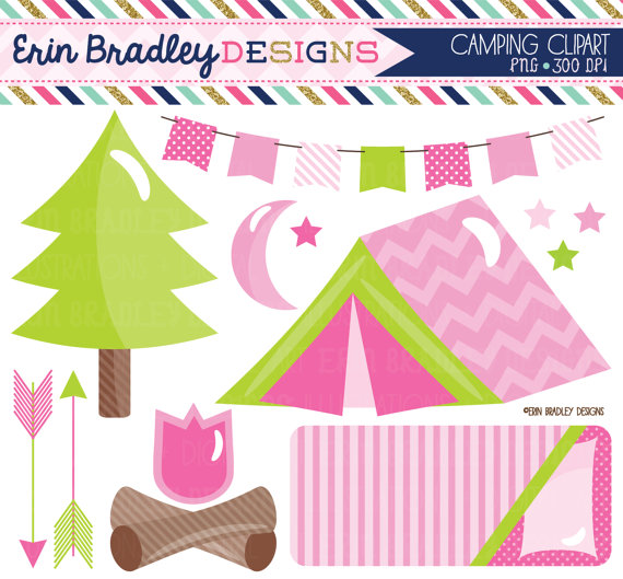 Girls Camping Clipart Set In Pink Glamping Clip Art Graphics With Tent