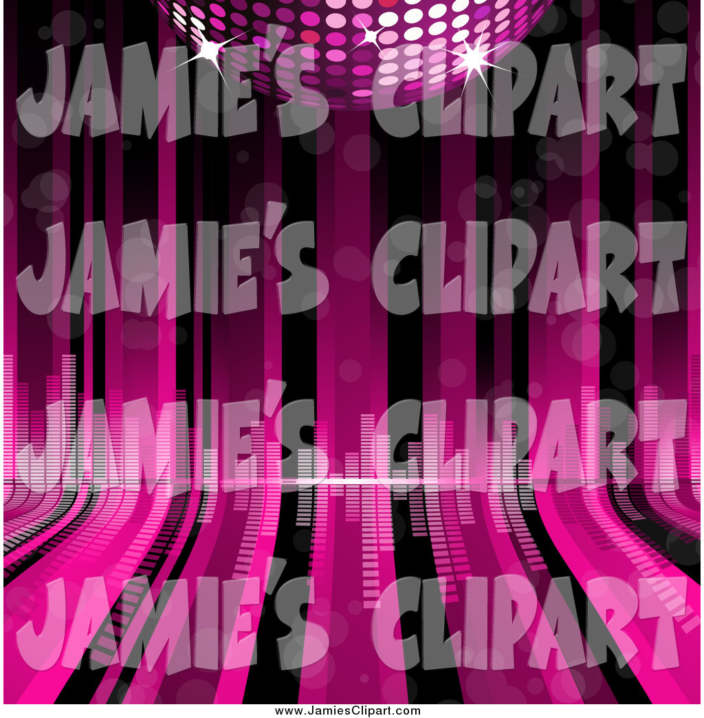 Larger Preview  Clip Art Of A 3d Disco Ball Over Pink And Black