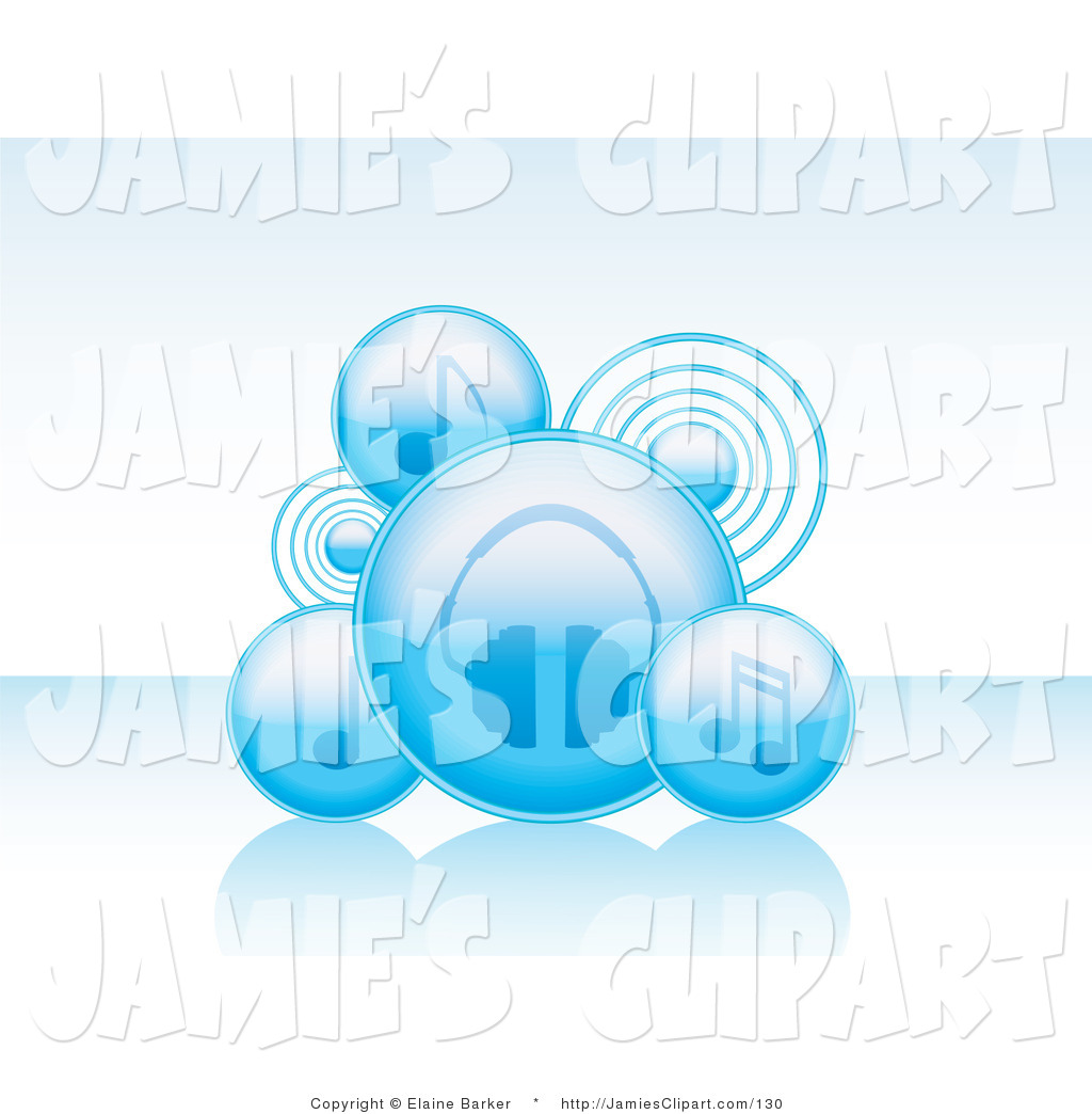 Larger Preview  Clip Art Of Blue Audio Bubble Icons Of Notes Speakers