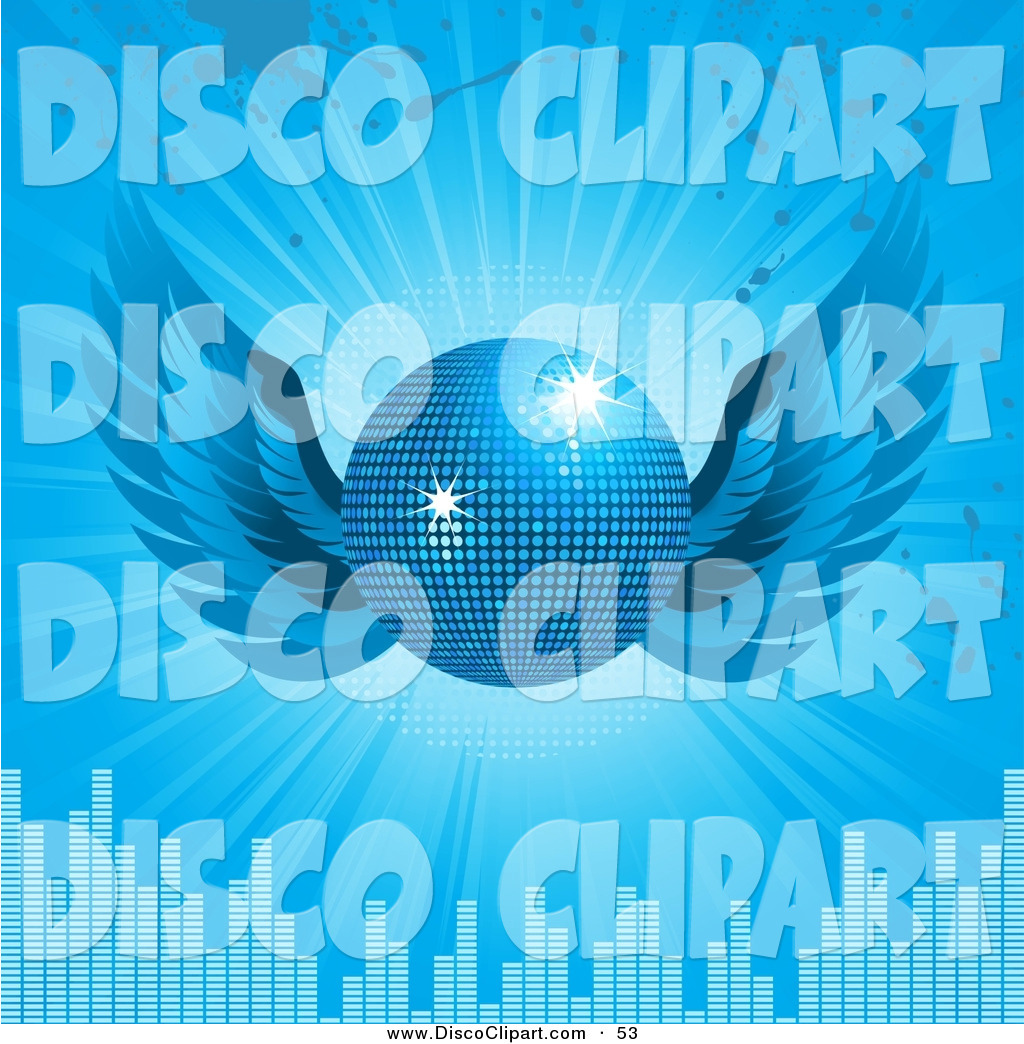 Larger Preview  Vector Music Clip Art Of A Glittering Blue Disco Ball