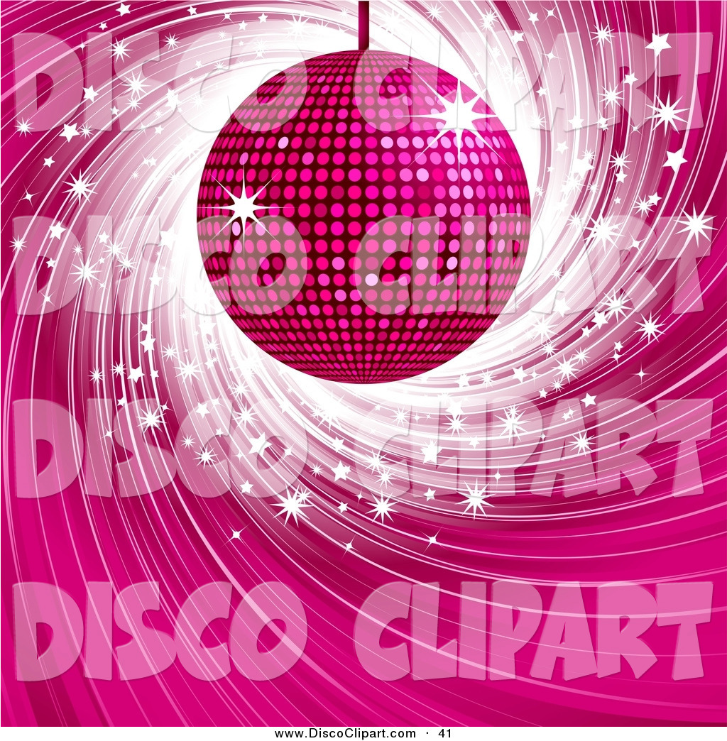 Larger Preview  Vector Music Clip Art Of A Glittering Pink Disco Ball