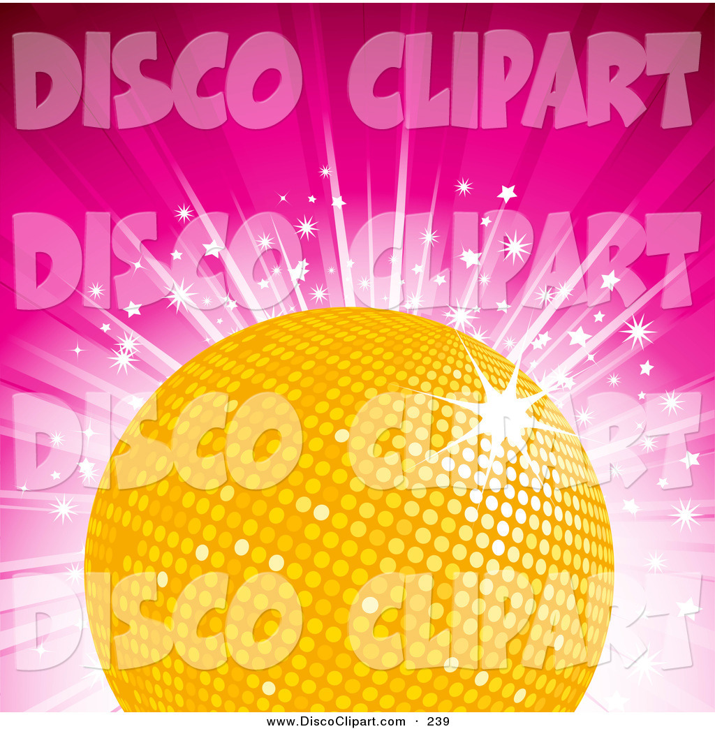 Larger Preview  Vector Music Clip Art Of A Glittering Yellow Disco