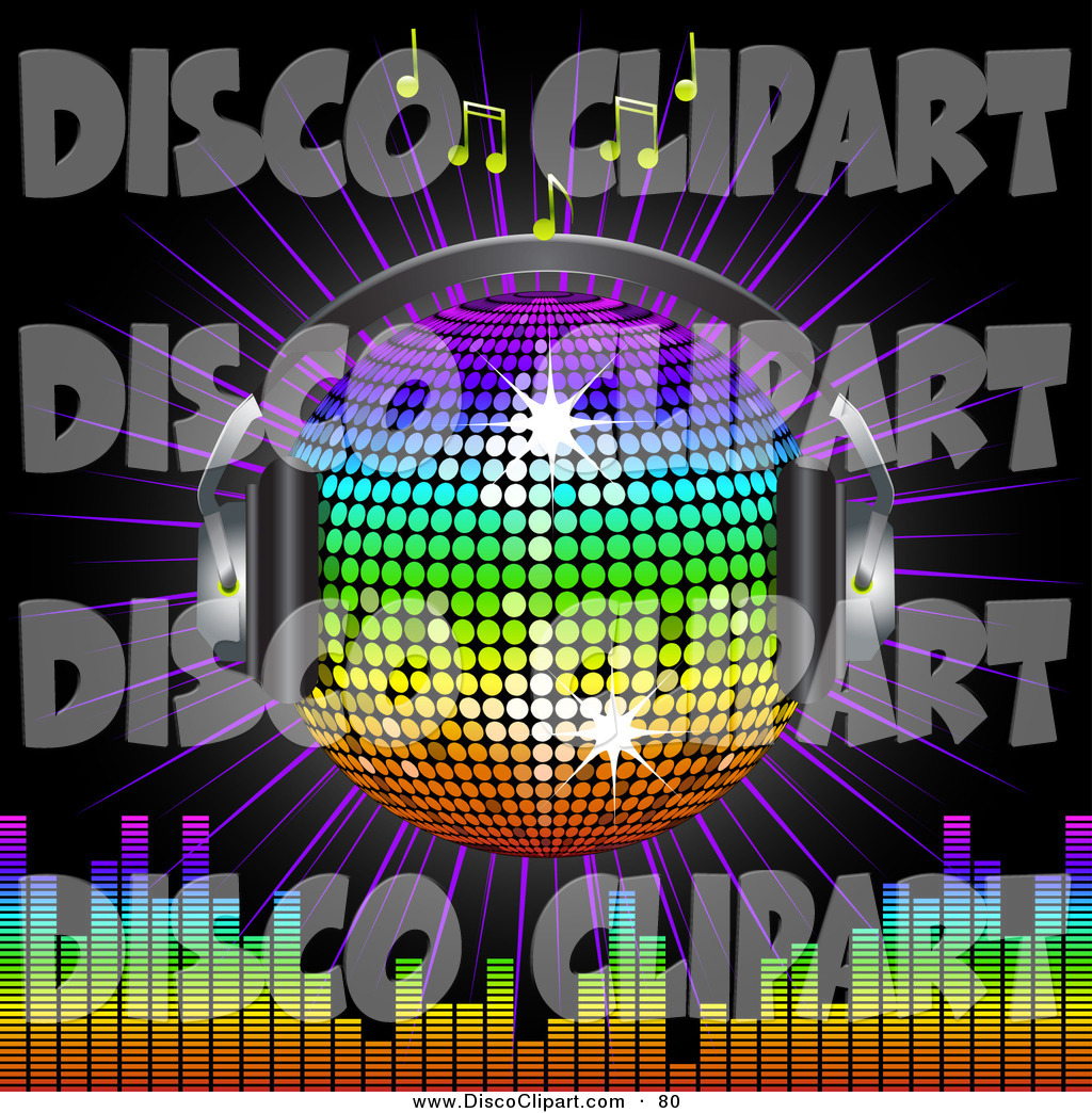 Larger Preview  Vector Music Clip Art Of A Shiny Winged Rainbow Disco