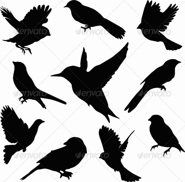 Sparrow Silhouette Flying Sparrow Silhoue...