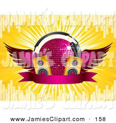 Vector Clipart Of A Silhouetted Female Dj Mixing A Record On A