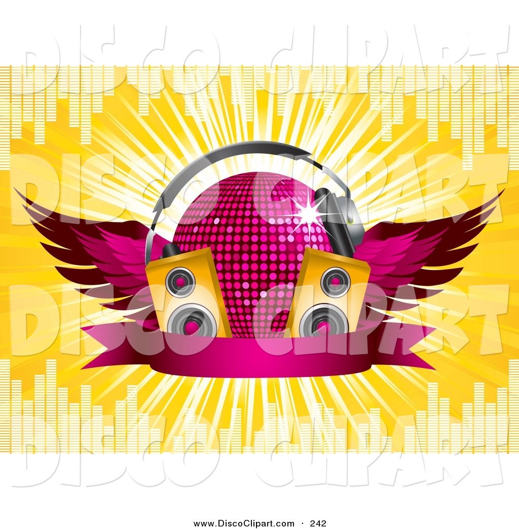 Vector Music Clip Art Of A Pink Winged Glittering Disco Ball Wearing