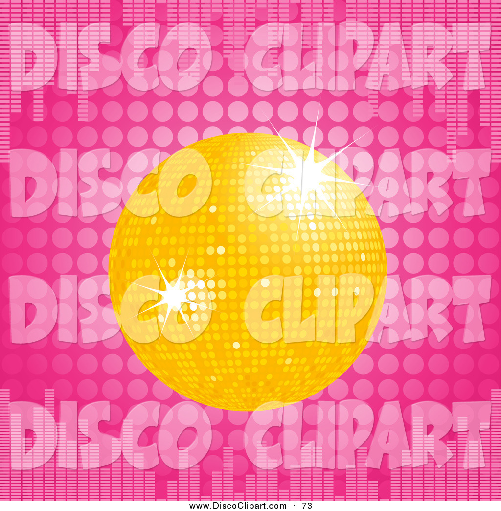Yellow Disco Ball Over A Pink Dotted Background With Equalizer Bars