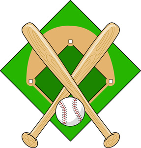 Baseball Graphic With Two Baseball Bats Crossed Over A Baseball