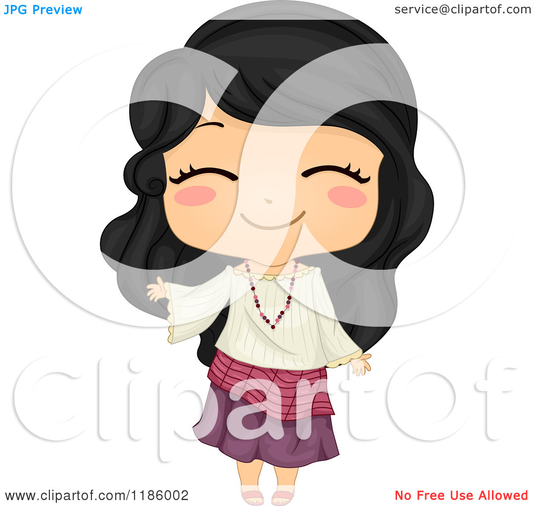 Cartoon Of A Cute Filipino Girl Waving And Wearing A Traditional