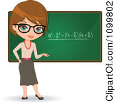 Clipart Friendly Brunette Female Math Teacher With Glasses Presenting