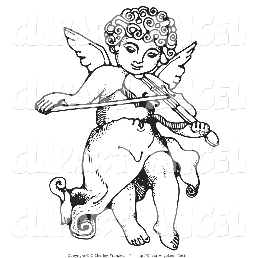 Illustration Vector Of A Black And White Innocent Cherub With Curly