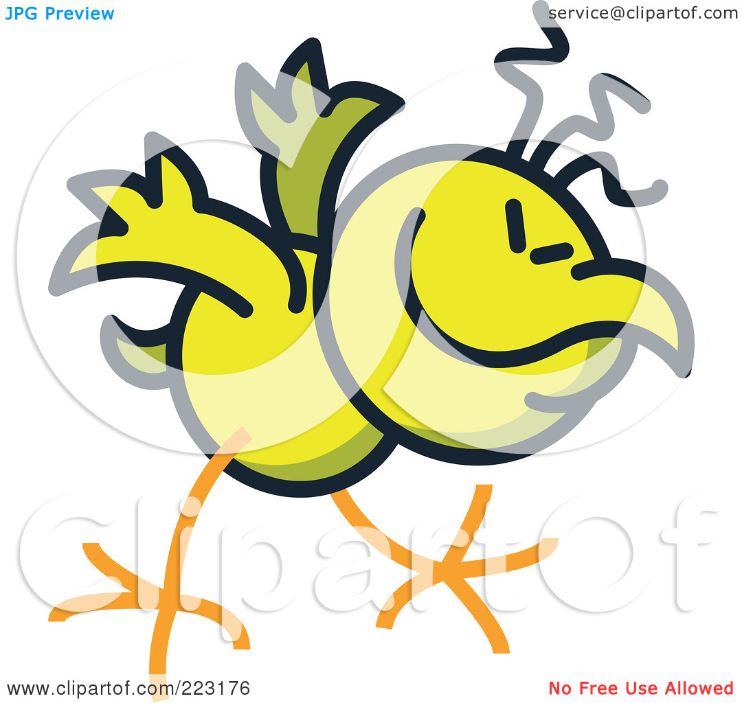 Royalty Free  Rf  Clipart Illustration Of A Yellow Chicken Bowing By