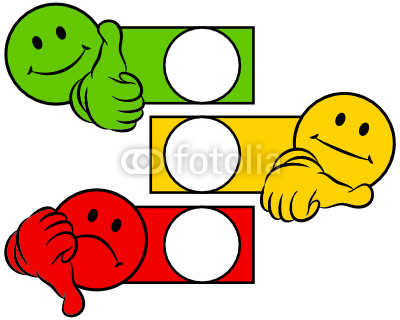 Smiley Thumbs Green Yellow Red To Tick A Box Stockfotos Und