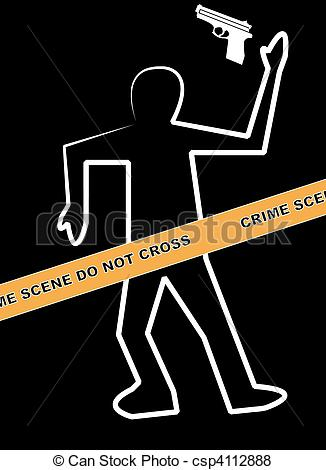 Stock Illustration Of Dead Body Chalk Outline With Hand Gun Csp4112888