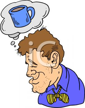 Tired Man Daydreaming About Coffee   Royalty Free Clip Art Image