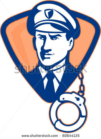 Vector Illustration Of A Security Guard Or Police Officer With Hand
