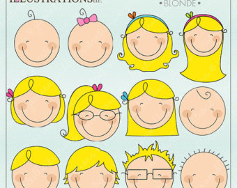 We Are Family Faces  Blonde  Cute D Igital Clipart For Invitations