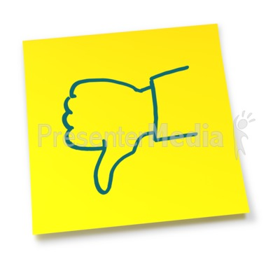 Yellow Sticky Note Thumbs Down   Signs And Symbols   Great Clipart For