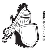 Black And White Clipart Knight Vector Clip Art