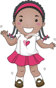 Clipart Image  Cartoon Of An African American Girl With Braids Dancing