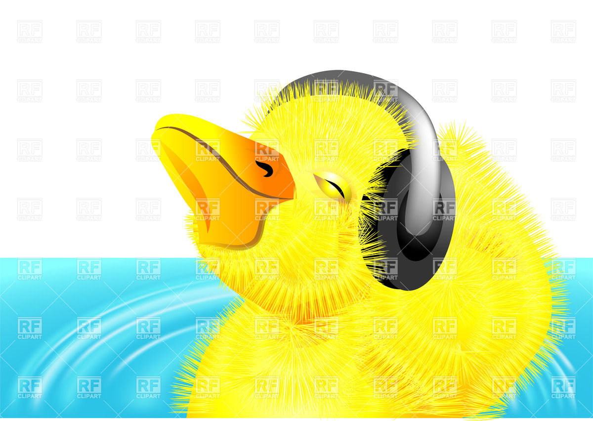 Cute Duckling Clipart Funny Duckling With Headphones