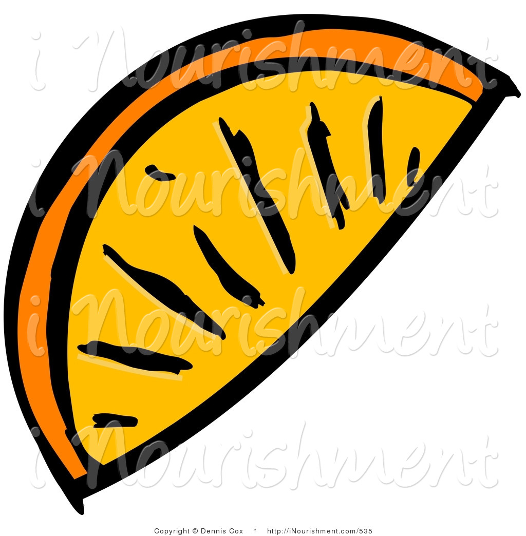 Orange Slice Clipart Clipart Of An Orange Wedge Slice On A White