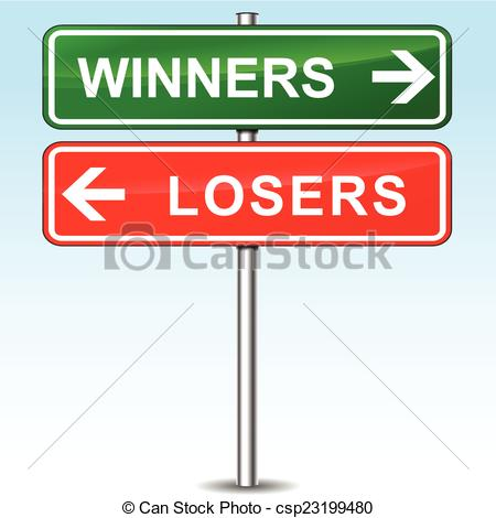 Vector   Winners And Losers Directional Sign   Stock Illustration