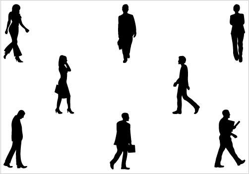 Walking Silhouette Vector Graphicscategory  People Vector Graphics