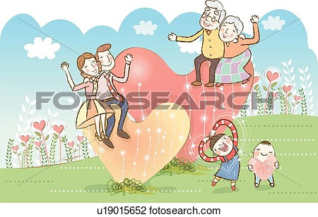 Art   Multi Generation Family On Hearts  Fotosearch   Search Clipart
