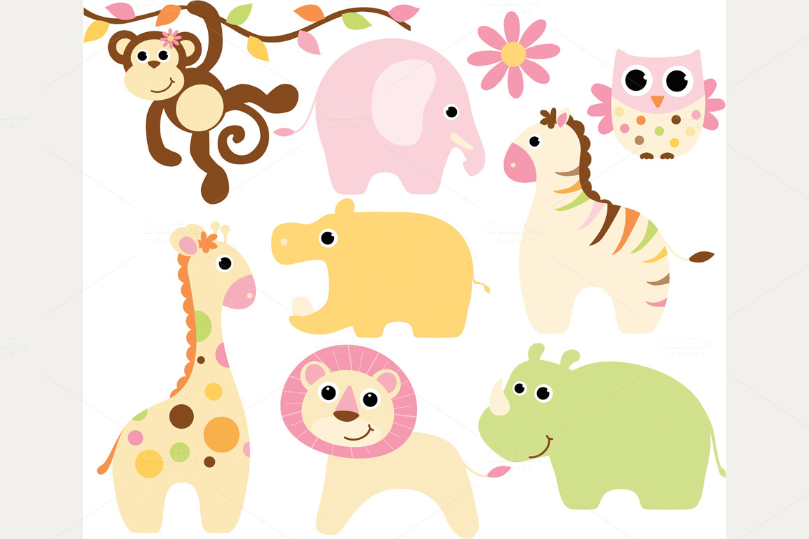 Cute baby animal clipart