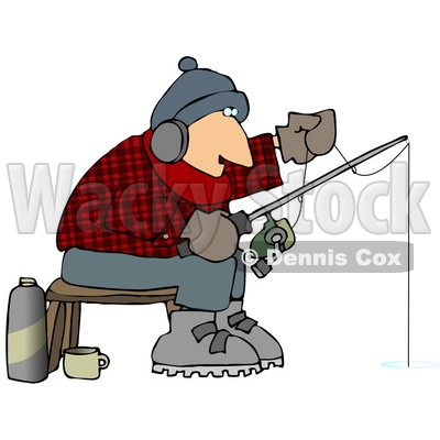 Cold Man Ice Fishing In The Winter Clipart Picture   Dennis Cox
