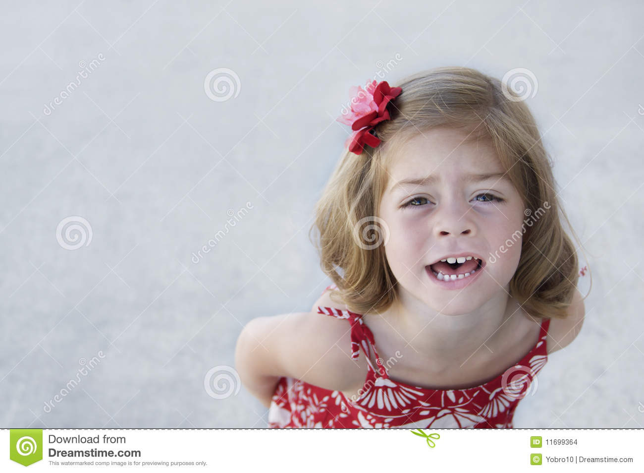 Cute Young Girl Looking Upset And Acting Disobedient  Lots Of Copy