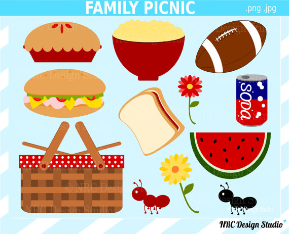 Final Sale Family Picnic Basket Clip Art   Cute Food Popcorn Football