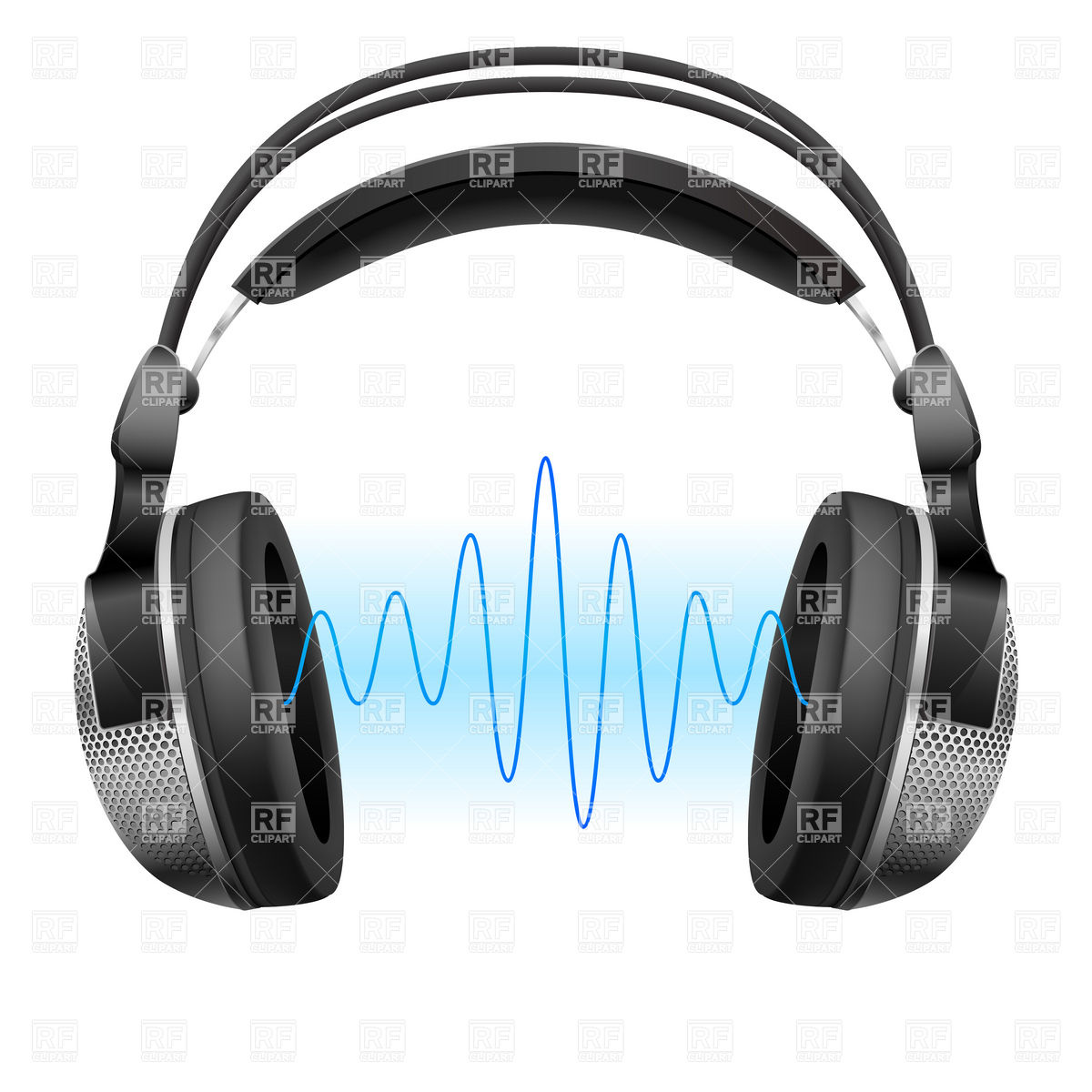 Headphones And Music Wave Download Royalty Free Vector Clipart  Eps
