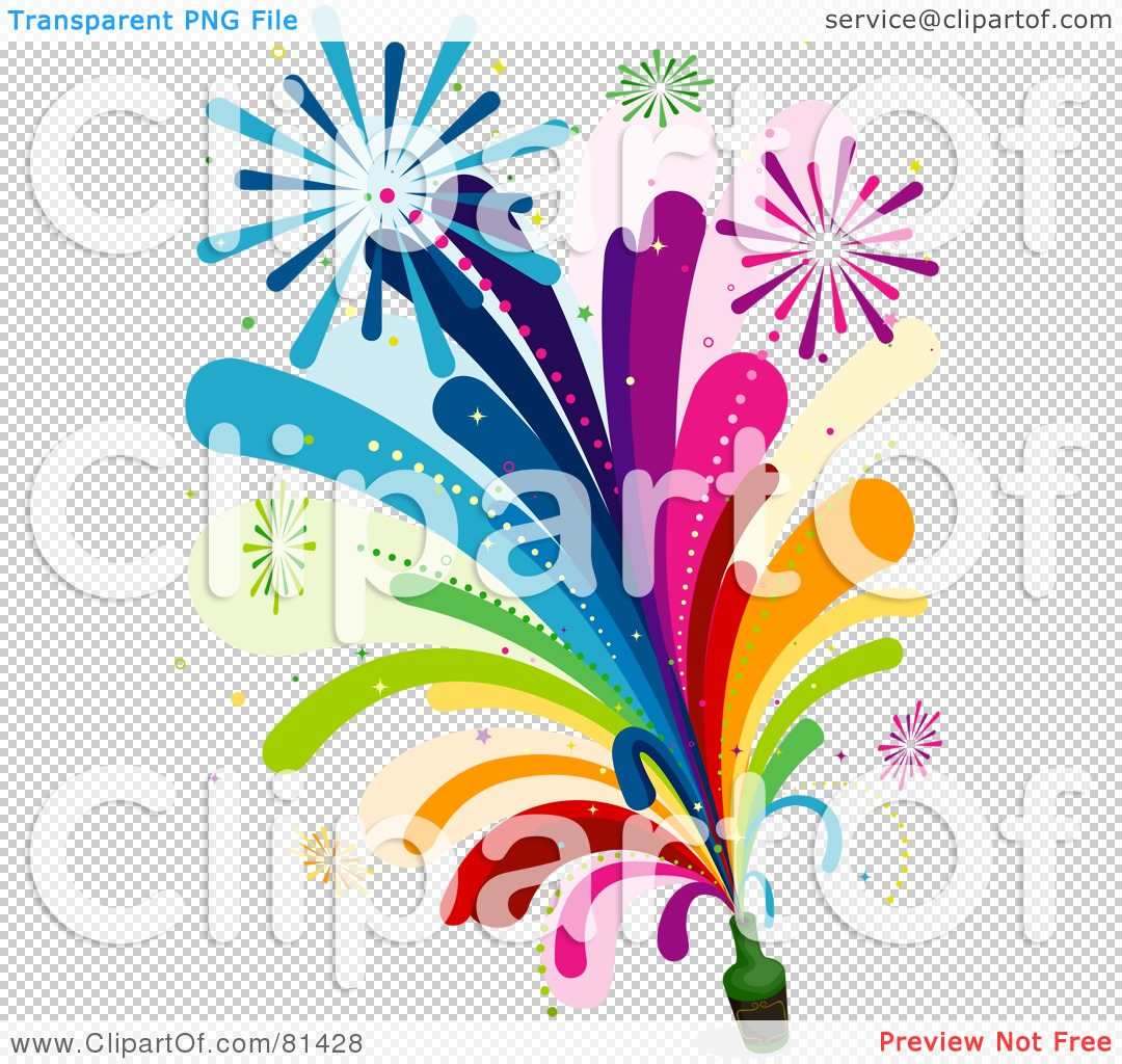 Royalty Free  Rf  Clipart Illustration Of Rainbow Fireworks Shooting
