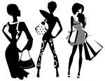 Silhouette Of Fashion Girl With Bags Silhouette Of Fashion Girls