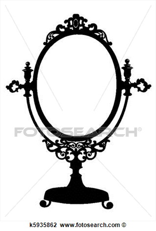 Silhouette Of Retro Oval Cosmetic Mirror  Vector Illustration Isolated