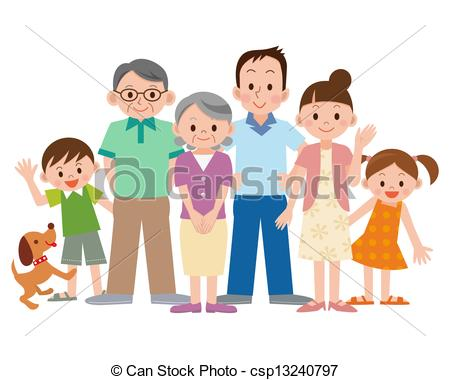 Three Generation Family Csp13240797   Search Vector Clipart Drawings