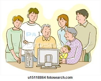 Three Generation Family Gathering In Front Of Computer Monitor View