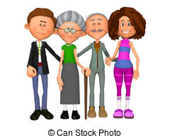 Two Generation Family Illustrations And Clipart