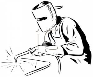 Black And White Retro Style Cartoon Of A Man Using A Welder