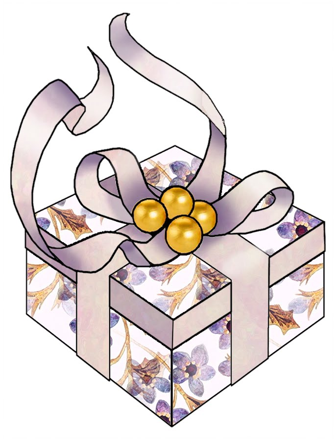 Christmas Gift Box Clip Art From Set A02   Purple Wood Roses Free