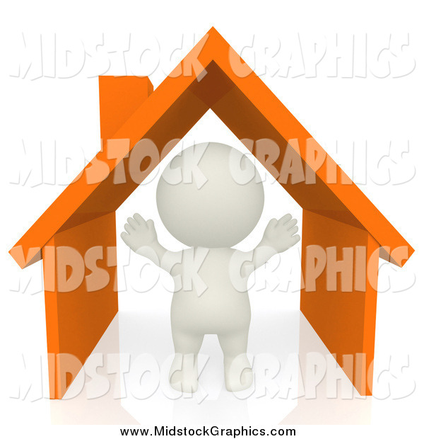 Clip Art Of A 3d White Person In An Orange Home By Andresr    81