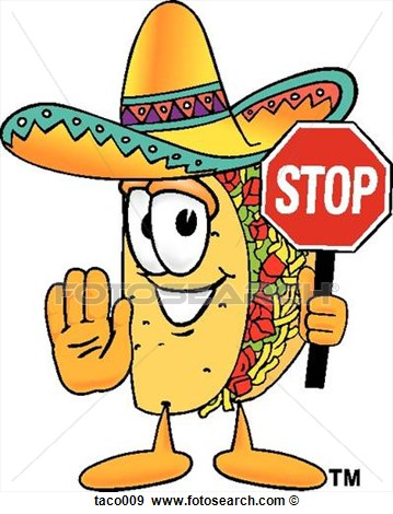 Clip Art Of Taco Holding Stop Sign Taco009   Search Clipart