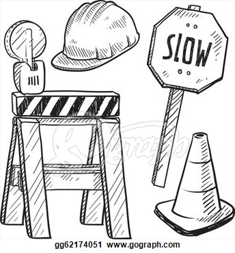 Clip Art Vector   Doodle Style Road Construction Equipment Sketch In